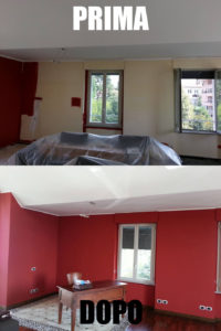 Imbiancatura e successiva colorazione rosso puro, mantenendo la colorazione del soffitto bianco, come potete vedere nell'immagine, tutti gli oggetti vengono coperti con teli in cellofan e i pavimenti con teli in polietilene protettivi e antiscivolo