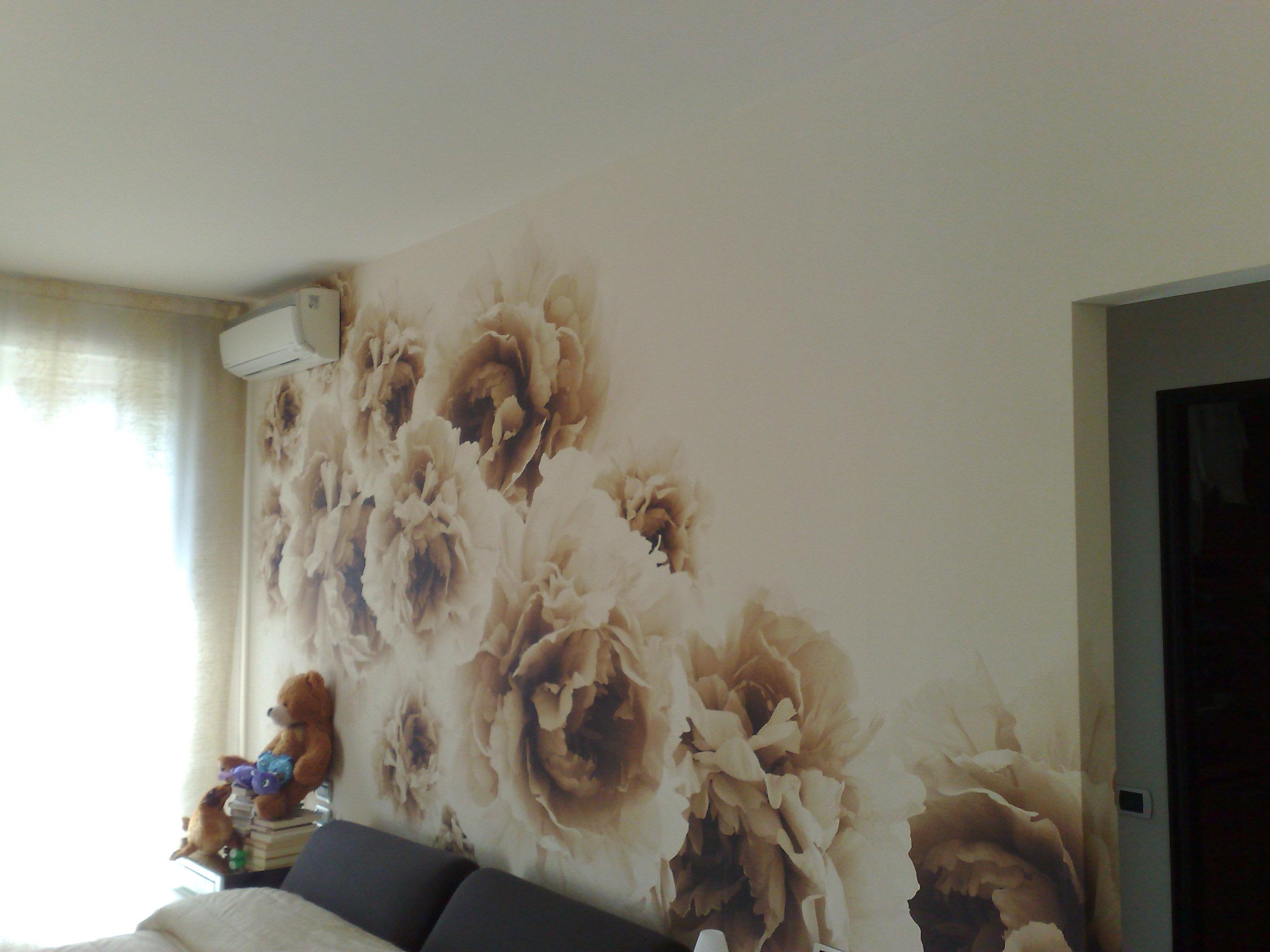 Quadro murale con disegno di rose effetto seppia a mano libera