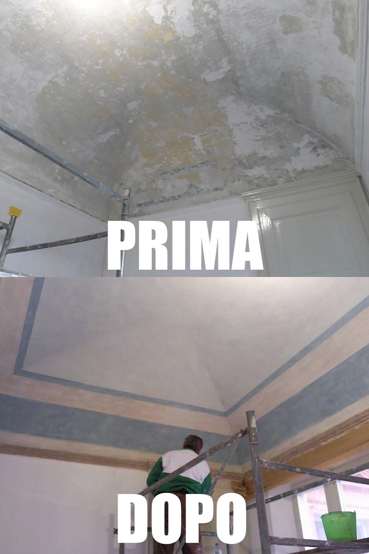 Restauro e imbiancatura arcata e soffitti con linee geometriche, prima e dopo