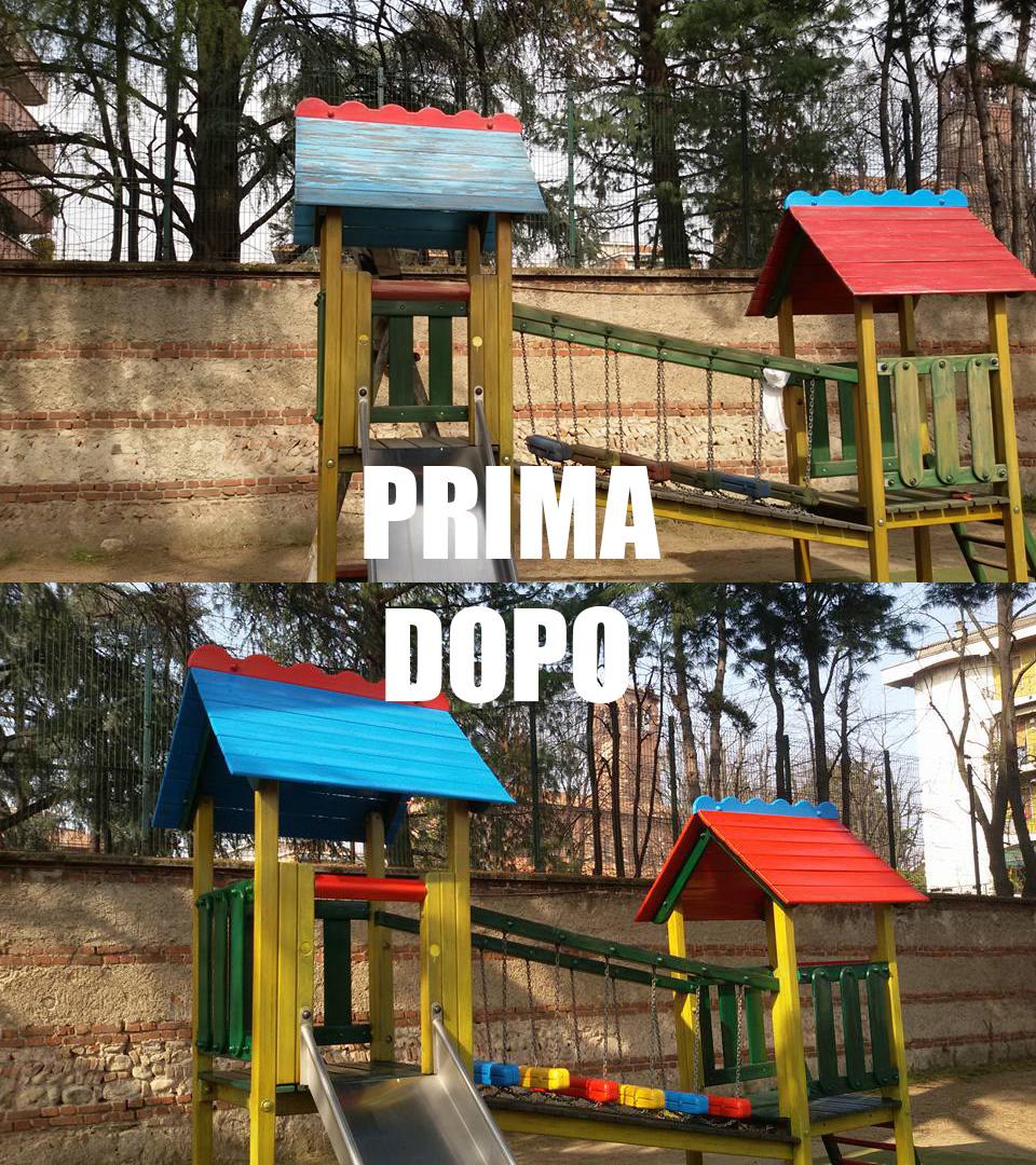 Imbiancatura con conseguente ripristino al colore originale per questo gioco per bambini situato in un parco giochi
